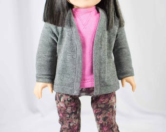 """American Girl or 18"""" doll Gray CARDIGAN Jacket and Pink SWEATSHIRT Top with  LEGGINGS Jeggings Tights in Pink Gray Floral Print"""