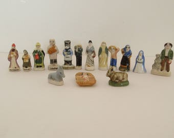 FEVES, Set of 15 Porcelain Feves, Charm's, Nativity, Epiphany Cake Charms, Galette de Roi, Vintage French,