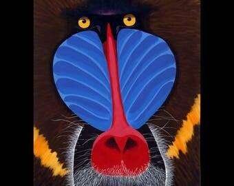 African Mandrill Baboon Original Painting