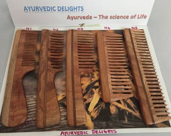 Handcrafted Neem wood comb - Anti-Dandruff, healthy scalp & hair - WIDE Toothed Comb - 5 different Models