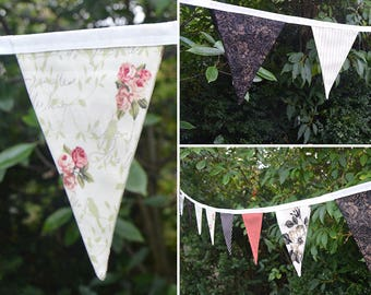 Handmade Fabric Bunting Autumn Shades of Brown Floral/Cream Floral/Beige Stripe/Brown Pin Dot Design 18 Double-Sided Medium Flags for Home