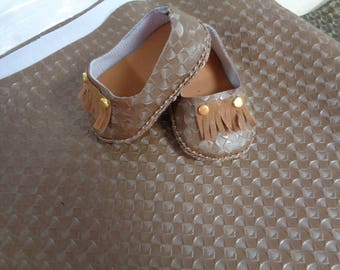 Light Brown Vinyl--Doll Shoe Kit- enough to make 2 pairs of Adorable Little Shoes -- for Your 18 inch Dolls