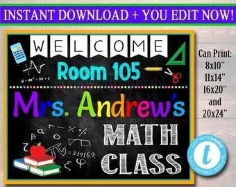 MATH Teacher Classroom Door Sign, Printable Classroom Sign, Custom Teacher Sign, Personalized Teacher Door Hanger, Math Teacher Gifts