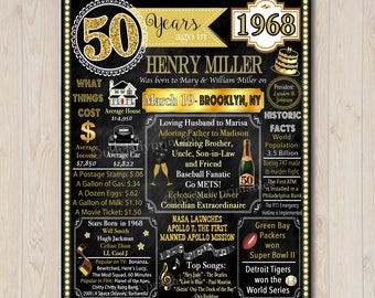 Customized 1968, 50th Birthday Chalkboard Poster Cheers to 50 Years Printable Art, 50th Party Decorations, 50th Birthday Poster DIGITAL FILE