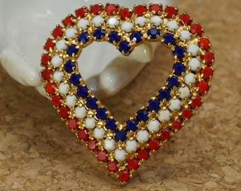 Gold tone Heart Rhinestone Brooch Pin -Red White and Blue Rhinestones