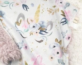 Minky + Faux Llama Lovie ~ Floral Unicorns + Rosewater
