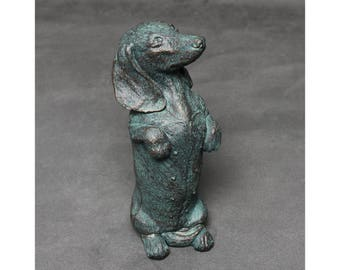 Bronze Dachshund Ornament, Sausage Dog Doxie Dachs Statue Ornament, Wiener Dog Antique Style Collectable Standing Up - LO14011