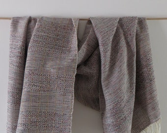 woven gray scarf  made of silk and cotton,women wrap, handmade,gift for her, ready to ship