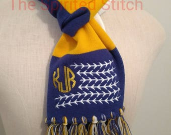 Baseball or Softball Spectator Striped Scarf with Monogram