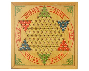 1930s Chinese Checkers Wood Game Board