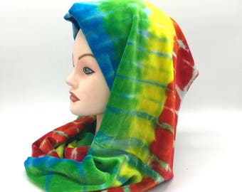 Tie Dye Infinity Scar, Organic Bamboo Velour Scarf, Trippy Rainbow Infinity Scarf, Super Soft Hippie Winter Accessories