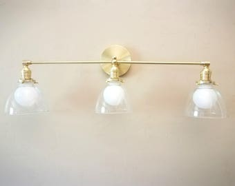Wall Mount Vanity Light - Cast and Turned Solid Brass and Glass Bell Modern Mid Century Sconce Lamp