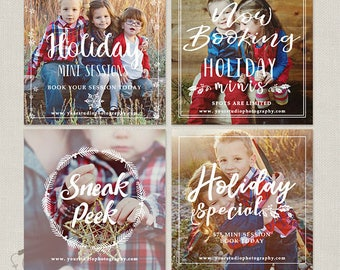 Holiday Christmas Mini Session Templates - Photography Marketing Board - Instagram Facebook Promotion - Holiday Minis Flyer - Bundle 116