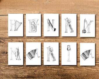 Name Art - Personalized Name Art - Kids Name Art - Children's Name Art - Custom Name Art - Personalized Letter Art - Letter Artwork - Music