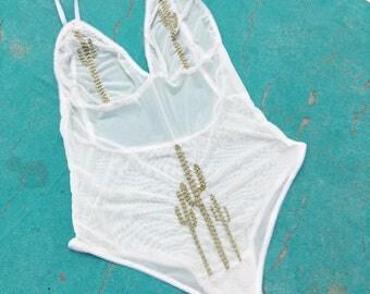 White Mesh Embroidered Bodysuit