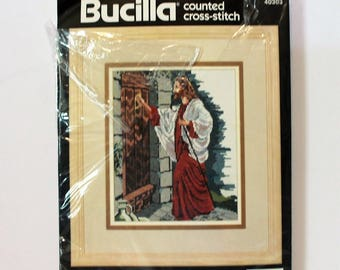 """Bucilla counted cross stitch kit 40303 Jesus At The Door kit 9"""" x 12""""repackaged"""
