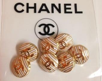 Designer buttons lot ( 7 ) stripes rose gold 16 mm