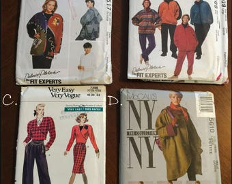 Great Patterns for Jackets, Pants RAINCOAT, Poncho McCalls 7409, 7517 &   McCalls 5610 Size 6-8 - Vogue 7398 Size 18-20-22