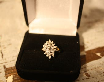 Diamond and 14K Yellow Gold Cluster Ring