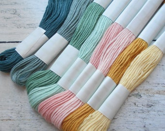 8 skeins of yarn has embroidery cotton 8 meters each pastel colors