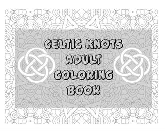 Celtic Knot - Adult Coloring Book - Gray Line Images