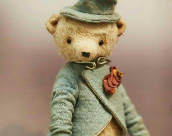 Teddy bear in blue suit, ooak teddy bear,  available for adoption, artist teddy, OOAK bear teddy, fabric art toy , collectible teddy
