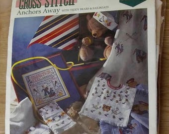 On Sale Vintage Charles Craft Cross Stitch Baby Afghan Kit: Anchors Away BK0017, Teddy Bears, Boys and Sailboats, Afghan/Floss/Instructions