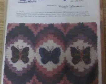 """On Sale, Columbia-Minerva, Latch-a-Rug, """"Butterfly Naturals"""", 26"""" x 34"""", Latch Hook Rug Canvas, Butterfly Latch Hook, 1980, VINTAGE"""