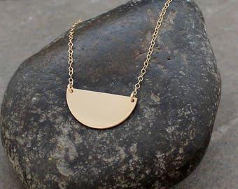 Gold Crescent Necklace - Rose Gold Crescent Necklace, Half Moon Necklace - Silver Crescent Necklace - Moon Necklace - Half Circle Necklace