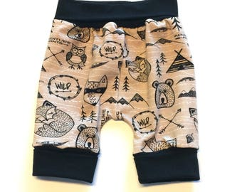 Wild Shortiloones  (no bum circle)- 1 to 3 years,  ~ Ready to Ship, cloth diaper pants, baby, toddler clothes