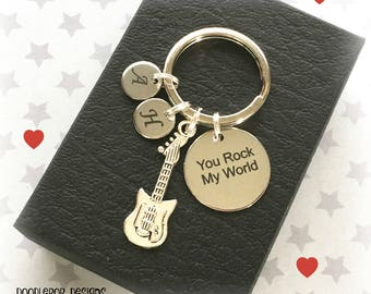 Valentine's gift for him - You rock my world keyring - Personalised keychain for him - Gift for boyfriend - Electric guitar keyring - UK