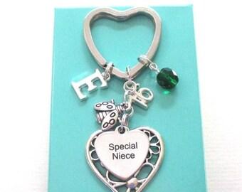 SALE Special Niece gift - 16th birthday gift for niece - Initial Niece keyring - Ladybug keychain - Charm keyring for niece - Niece 16th gif