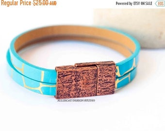 1000 SALES NEW Bohemian Bracelet, Boho Turquoise Copper Faux Leather Cuff Bracelet (6.5 inches)