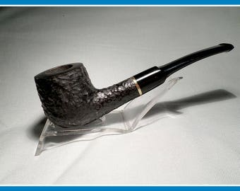 New Un-Smoked, Unmarked Briar Rusticated Billiard with Brass Band