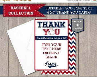 SALE INSTANT DOWNLOAD Baseball Editable 4x6 Thank You Cards / You Type Text / Birthday Party / Baby Shower / Baseball Collection / Item #911