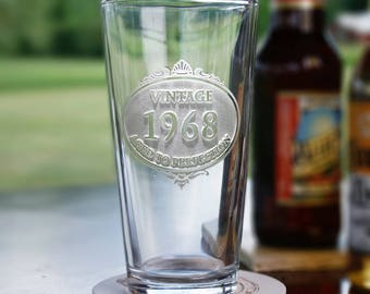 Birthday Pub Pint Water Glasses Engraved with Vintage Year - Set of 2