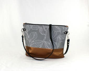 Twigs copper Crossdiv bag with leather handles