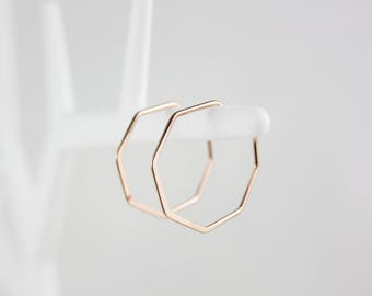 Geometric gold plated Rosé gold hoop earrings