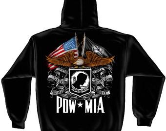 Military Hooded Sweat Shirt Flag Eagle Pow Black SKU: MM2149SW