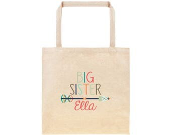 Big Sister Personalized Boho Arrows Tote Bag // Custom Canvas Big Sister Gift Bag // Boho Arrows Big Sis Tote Bag