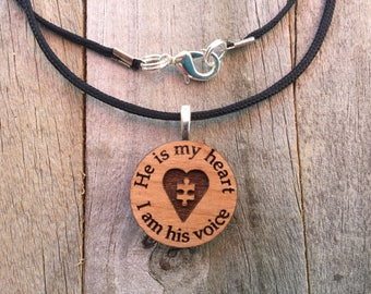 Autism Jewelry-He is my heart-Autism Puzzle Piece Necklace-Autism Art-Art Jewelry-Laser Cut Pendant-Autism Gift