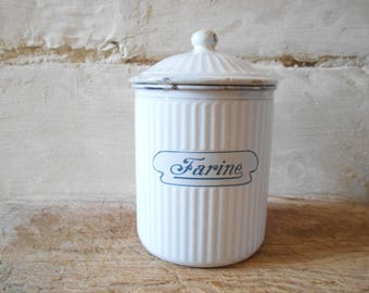 French antique enamel canister, flour pot, French enamelware, French cottage kitchen decor.