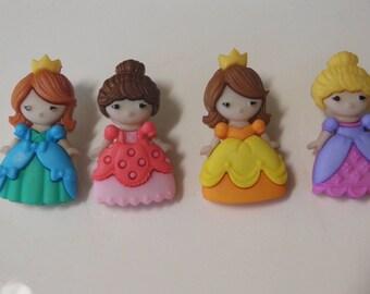 4 Darling Princess Buttons Snap Together Set of 4