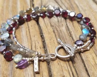 Labradorite Bracelet with Hill Tribe Silver, Multi Gemstone, January Birthstone, Garnet Bracelet, Sterling Silver, Beachy, Double Strand