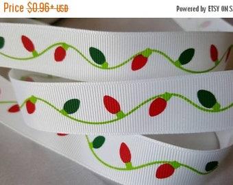 "ON SALE 7/8"" grosgrain ribbon christmas light  print  , grosgrain  ribbon,holiday ribbon,christmas ribbon"