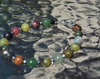 Earthy Beaded Bracelet with Hematite