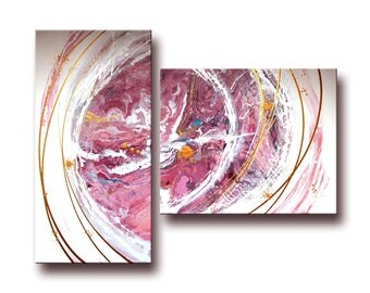 PAINTING abstract modern ART - pink - acrylic painting - purple - gold - unique hand painted