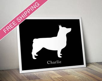 Personalized Swedish Vallhund Silhouette Print with Custom Name (Docked Tail) - Vallhund dog art, dog poster, dog gift, dog home decor