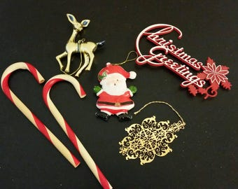 Vintage Christmas Ornament Lot, Plastic Candy Canes, Santa, Deer