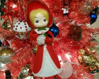 Vintage Christmas Tree Topper, Made in Japan, Big Eye Girl Cone Caroller Doll, 1960s Decor